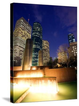 Splashing Fountain with Skyscrapers and High-Rise Buildings in Houston, Texas--Stretched Canvas Print
