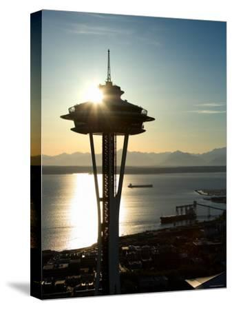 Silhouette of Space Needle Building in Seattle, Washington at Sunset--Stretched Canvas Print