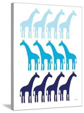 Blue Giraffe Family-Avalisa-Stretched Canvas Print