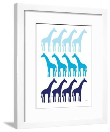 Blue Giraffe Family-Avalisa-Framed Art Print