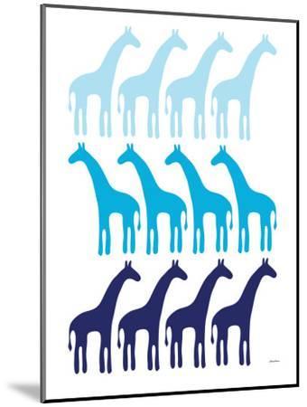 Blue Giraffe Family-Avalisa-Mounted Art Print