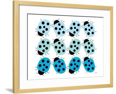 Blue Lady Bug Family-Avalisa-Framed Art Print