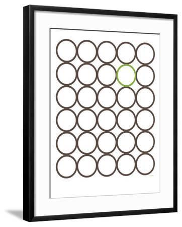Brown Green Circles-Avalisa-Framed Art Print