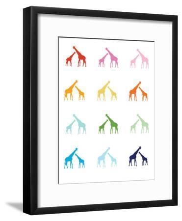 Rainbow Giraffes-Avalisa-Framed Art Print