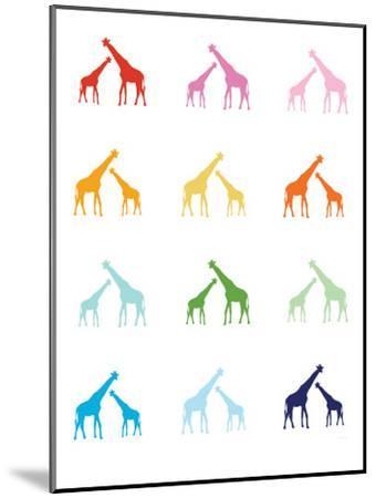Rainbow Giraffes-Avalisa-Mounted Art Print