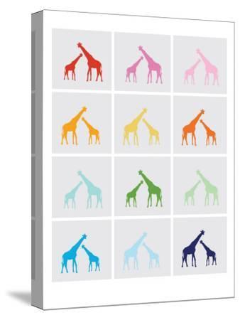 Rainbow Giraffe Squares on Grey-Avalisa-Stretched Canvas Print