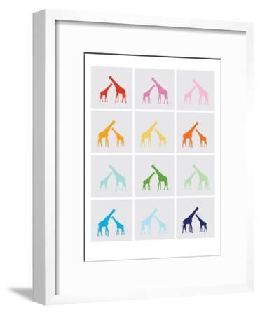 Rainbow Giraffe Squares on Grey-Avalisa-Framed Art Print