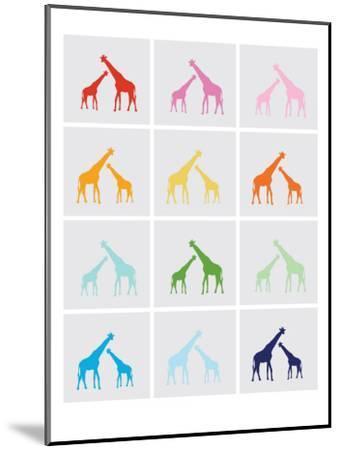 Rainbow Giraffe Squares on Grey-Avalisa-Mounted Art Print