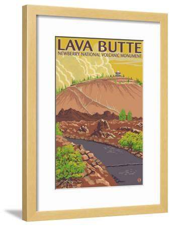 Newberry National Volcanic Monument, Lava Butte-Lantern Press-Framed Art Print