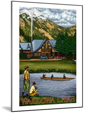 Wallowa Lake, Oregon, View of the Lodge and Lake-Lantern Press-Mounted Art Print