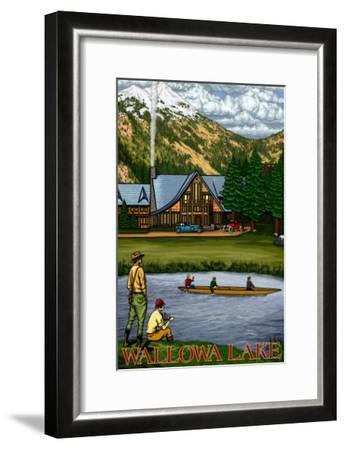 Wallowa Lake, Oregon, View of the Lodge and Lake-Lantern Press-Framed Art Print