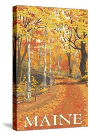 Maine, Fall Colors Scene-Lantern Press-Stretched Canvas Print