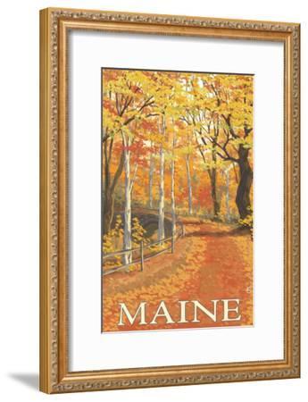 Maine, Fall Colors Scene-Lantern Press-Framed Art Print