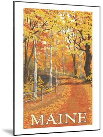Maine, Fall Colors Scene-Lantern Press-Mounted Art Print