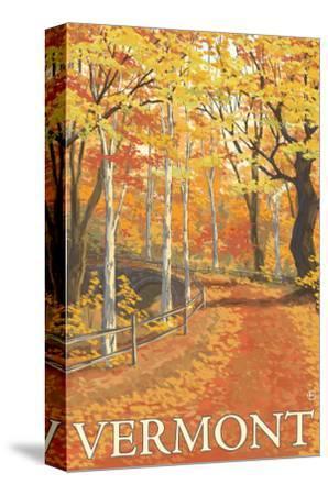 Vermont, Fall Colors Scene-Lantern Press-Stretched Canvas Print