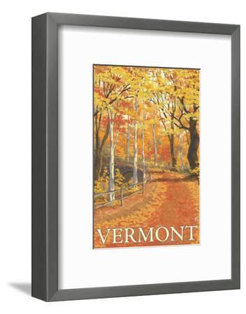 Vermont, Fall Colors Scene-Lantern Press-Framed Art Print