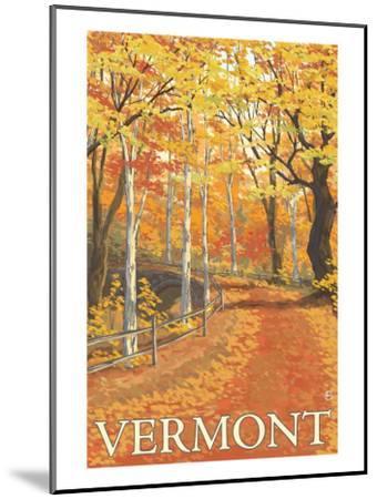 Vermont, Fall Colors Scene-Lantern Press-Mounted Art Print