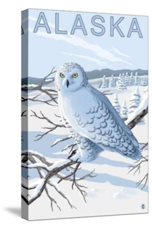 Alaska, Snowy Owl Scene-Lantern Press-Stretched Canvas Print