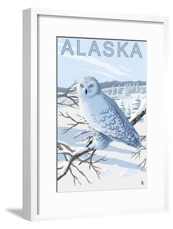 Alaska, Snowy Owl Scene-Lantern Press-Framed Art Print