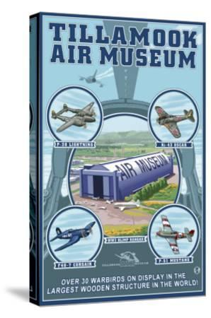 Tillamook, Oregon, Tillamook Air Museum Collage-Lantern Press-Stretched Canvas Print