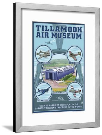 Tillamook, Oregon, Tillamook Air Museum Collage-Lantern Press-Framed Art Print