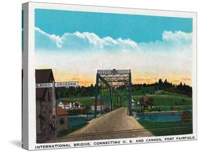 Aroostook County, Maine, Fort Fairfield View of Internat'l Bridge to Canada-Lantern Press-Stretched Canvas Print