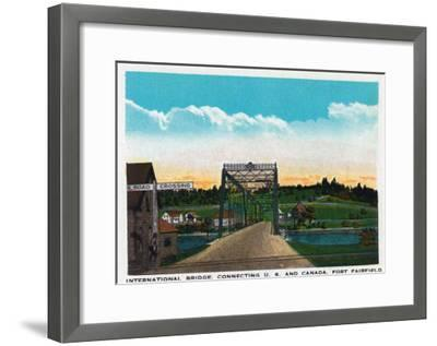 Aroostook County, Maine, Fort Fairfield View of Internat'l Bridge to Canada-Lantern Press-Framed Art Print