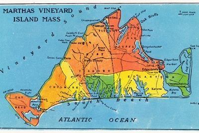 Massachusetts, Map of Entire Martha's Vineyard Island-Lantern Press-Stretched Canvas Print