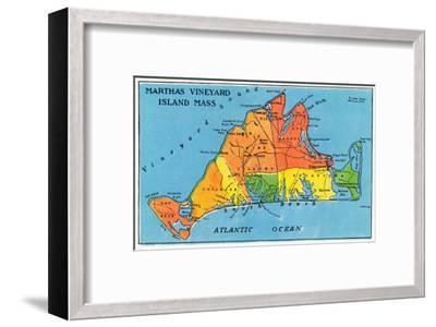 Massachusetts, Map of Entire Martha's Vineyard Island-Lantern Press-Framed Art Print