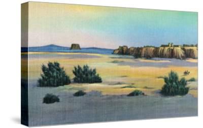 New Mexico, View of Acoma and the Enchanted Mesa near Laguna-Lantern Press-Stretched Canvas Print