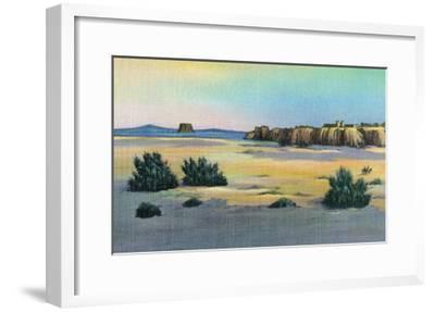 New Mexico, View of Acoma and the Enchanted Mesa near Laguna-Lantern Press-Framed Art Print