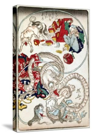 Japanese Wood-Cut Print, Creatures with Long Necks Attack a Noodle Shop Customer, no.1-Lantern Press-Stretched Canvas Print