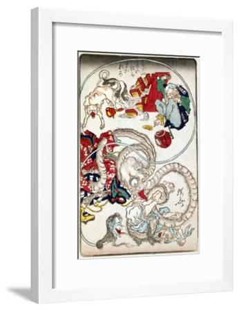 Japanese Wood-Cut Print, Creatures with Long Necks Attack a Noodle Shop Customer, no.1-Lantern Press-Framed Art Print