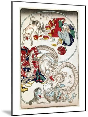 Japanese Wood-Cut Print, Creatures with Long Necks Attack a Noodle Shop Customer, no.1-Lantern Press-Mounted Art Print
