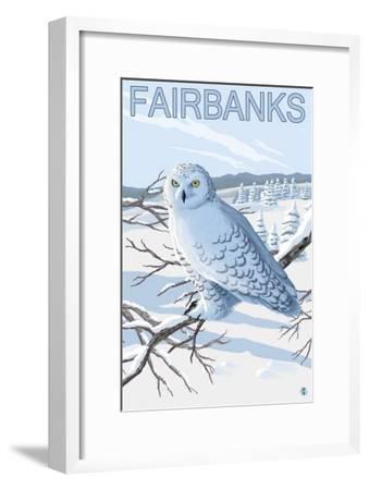 Fairbanks, Alaska, Snowy Owl Scene-Lantern Press-Framed Art Print