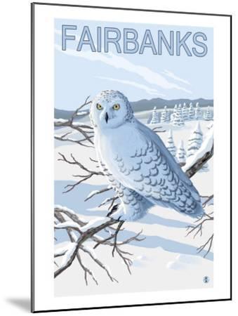 Fairbanks, Alaska, Snowy Owl Scene-Lantern Press-Mounted Art Print