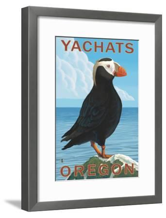 Yachats, Oregon, Puffin Scene-Lantern Press-Framed Art Print