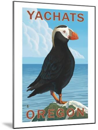 Yachats, Oregon, Puffin Scene-Lantern Press-Mounted Art Print