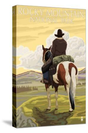 Rocky Mt. National Park, Colorado, Cowboy Scene-Lantern Press-Stretched Canvas Print