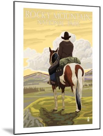 Rocky Mt. National Park, Colorado, Cowboy Scene-Lantern Press-Mounted Art Print