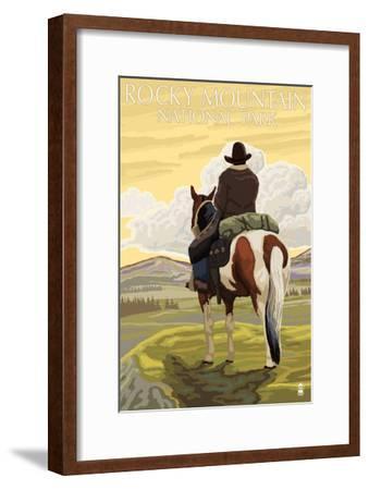 Rocky Mt. National Park, Colorado, Cowboy Scene-Lantern Press-Framed Art Print