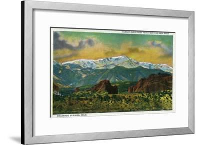 Colorado Springs, CO, Sunset over Pikes Peak View from the Mesa Road-Lantern Press-Framed Art Print