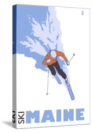 Maine, Skier Stylized-Lantern Press-Stretched Canvas Print