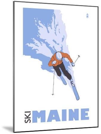 Maine, Skier Stylized-Lantern Press-Mounted Art Print