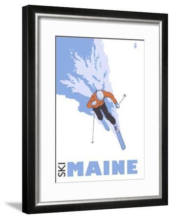 Maine, Skier Stylized-Lantern Press-Framed Art Print