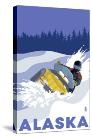 Alaska, Snowmobile Scene-Lantern Press-Stretched Canvas Print