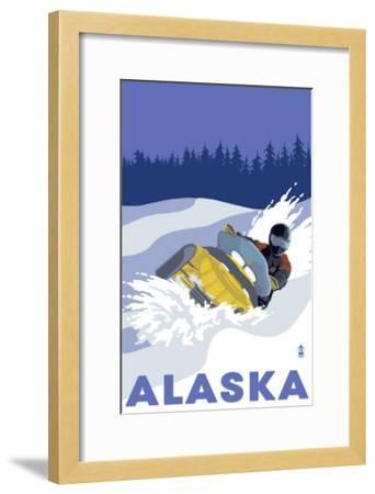 Alaska, Snowmobile Scene-Lantern Press-Framed Art Print