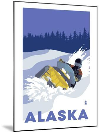 Alaska, Snowmobile Scene-Lantern Press-Mounted Art Print