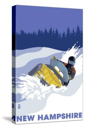 New Hampshire, Snowmobile Scene-Lantern Press-Stretched Canvas Print