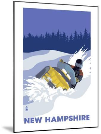 New Hampshire, Snowmobile Scene-Lantern Press-Mounted Art Print